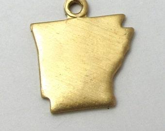 Blank - Tiny Raw Brass Arkansas State Charms (6X) (A403-1)