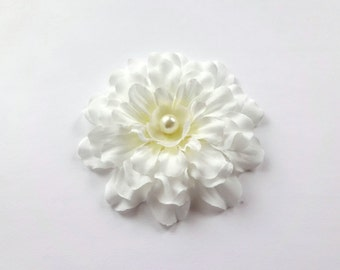 SALE Bridal Ivory Zinnia Flower Hair Pin, Girl Hair Clip, Baby Snap Clip
