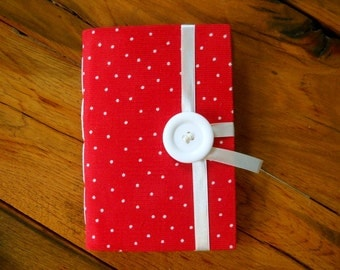 Personal journal, red notebook, hand bound with lined paper for writing, journal notebook, white dots, white button & ribbon