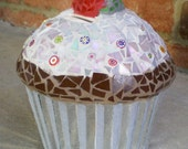 Whimsical Stained Glass Mosaic Cup Cake Bank No Calories