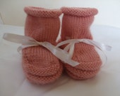 Handknit Baby Booties and Why I Made Them - Peach