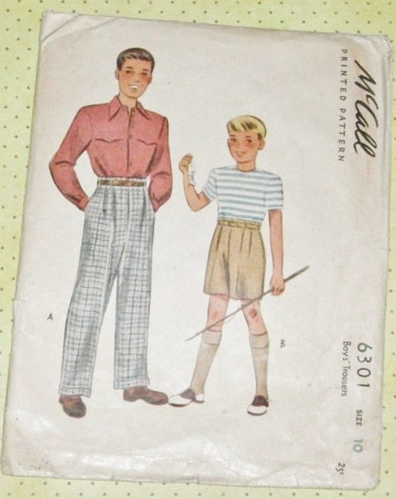 Vintage Sewing Pattern - 1945 McCall's Boys' Trousers and Shorts - Size 10