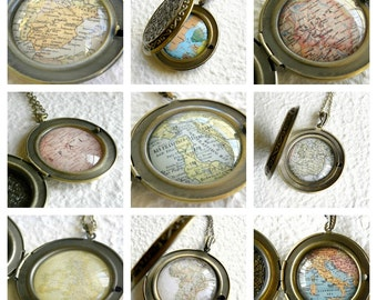 Custom Map Necklace - Custom Map Locket - YOU pick your location - Personalized Jewelry