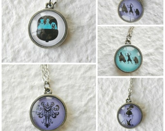Haunted Mansion Double Sided Disney Necklace - Choose from The Hitchiking Ghosts, Creepy Wallpaper, Doom Buggy, and Stretching Portrait