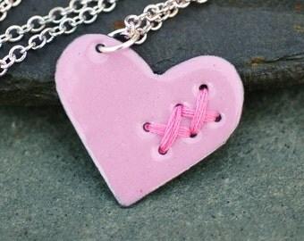 Mended Broken Enamel Heart Pendant Necklace Copper Enameled Jewelry Sewn Medium Pink