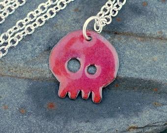 Enamel Skull Pendant, Dia de los Muertos Necklace, Copper, Pink Purple, Enameled Jewelry - Baby Honeysuckle