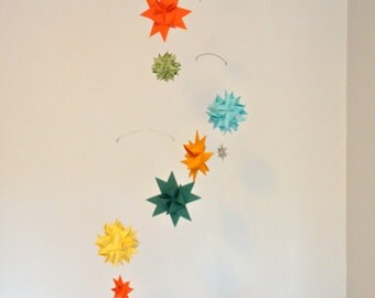 Baby Crib Mobile Origami Paper Stars and Spheres -'Carina'