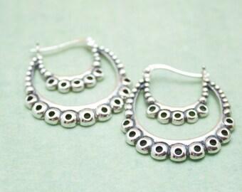 Destash-  Thai Sterling Silver Hoop  Earrings- 1 pair