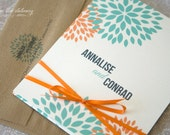Dahlia Blooms Matchbook Style Wedding Invitation DIY