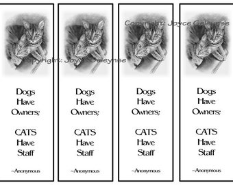 Printable Bookmarks, Bengal Cats in Pencil, Quote About Cats, Original Pencil Art, Instant Download