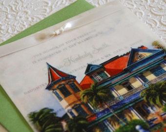 Vellum Overlay Vintage Wedding Invitation - Key West, Florida (Design Fee)