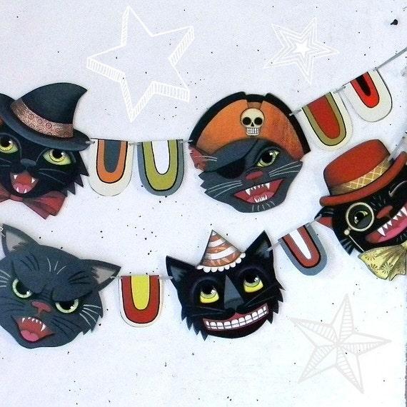 Halloween Black Cat Banner Garland Bunting Ornaments Decor Original Folk Art  DIY