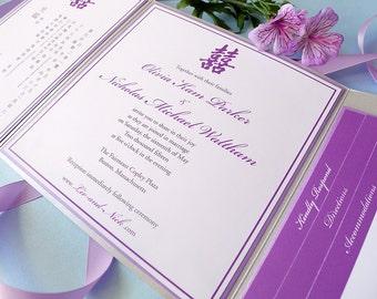 Double Happiness Princess Dual Panel Wedding Invitation Set