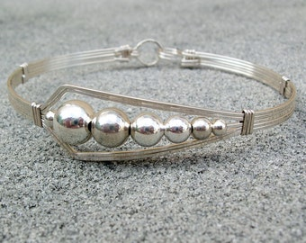 Sterling Wirewrapped Bracelet with Offset Smooth Beads