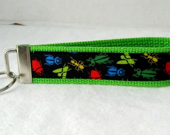 Bugs Key Fob LIME Green Insects Keychain Wristlet