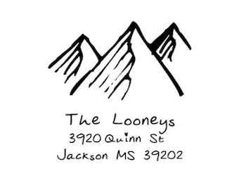 Rustic mountains return address custom rubber stamp