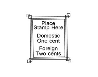 Vintage place stamp here rubber stamp faux postage stamp