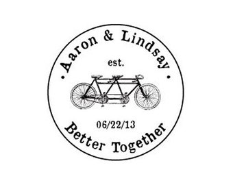 custom wedding stamp Better Together weddng save the date tandem custom bicycle rubber stamp bike Est date