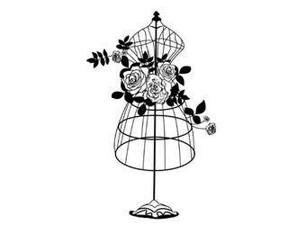 CLEARANCE Beautiful floral Dress Form Rubber Stamp Flowers dressform
