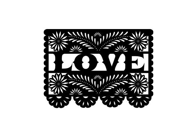Papel Picado Love Rubber Stamp