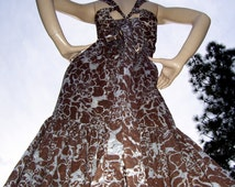 Mermaid Prom Dress Brown Opal Sheer Abstract Floral Fishtail Gown Elegant Formal Hippie Wedding Dress