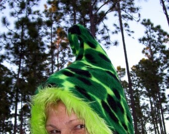 Green Spotted Elf Hood Toad Reptile Skin Pixie Green Kiwi Lime Fur Dr Seuss Fairy Sprite Costume Hood Furry Warm Woodland Faire Geek Hat
