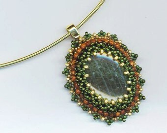 Beadwoven Labradorite Statement Pendant . Genuine Stones . Goldstone . Gold and Moss Green - Labradorite Pendant by enchantedbeads on Etsy