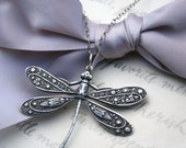 Dragonfly Pendant Necklace your choice of Silver plated brass, Verdigris patina or Openwork