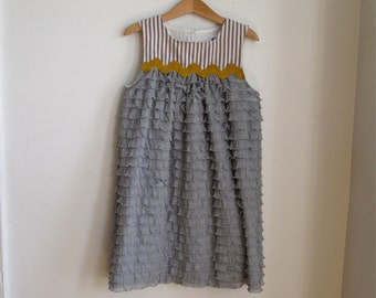 Girls Elegant Ruffle Party Dress - Blue Striped Bodice with Grey Ruffle Skirt & Mustard Trim - Toddler Girls Sizes 6 - 12 Months to Girls 4T