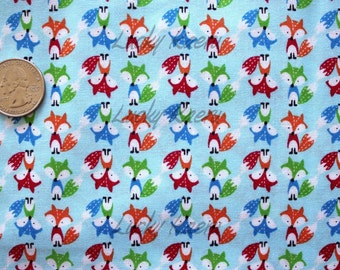 Timeless Treasures, Tiny Foxes Blue Fabric - REMNANT Size 15 Inches by 44 Inches