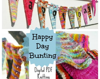 Knitted Banner Pattern : Happy Day Bunting PDF Pattern (Make Your Own Knit Flag Banner)