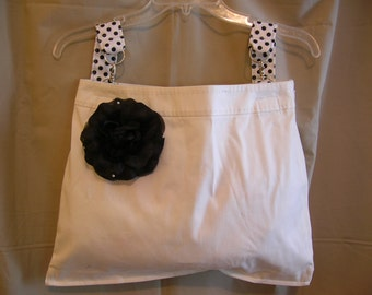 Walker Bag Stroller Bag White Black Polka Dots