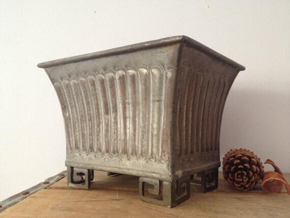 Galvanized Metal Planter Decorative Metal Planter Shabby