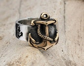 Nautical Anchor ring in 14K Gold and Sterling Silver, FIRST MATE -  men and women ring - wedding, engagement.