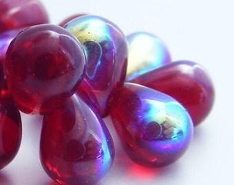 Czech Glass Teardrop Beads 8x6mm Glass Beads (20pk) Garnet Red AB si-8x6D-M-GAB