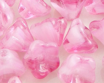 Czech Bell Flower Beads 8x6mm Crystal Pink (15pk) SI-8x6F-CP