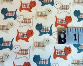One Yard Cut Quilt Fabric, Dog Pattern is of Scottie's Wearing Plaid Sweater Coats on a White Background, Quilting and Sewing Supplies