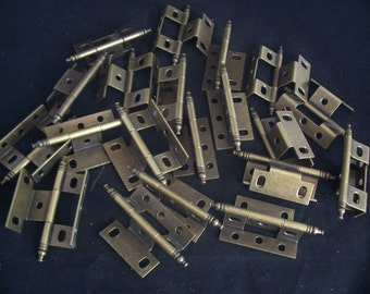Set of 20 (10 Pair) New Antique Brass Non-Mortise Minaret Finial Cabinet Hinges
