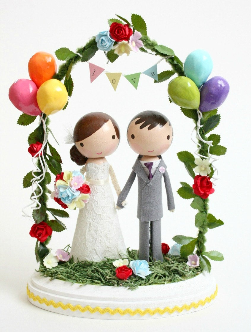 custom wedding cake topper with balloons & by lollipopworkshop