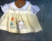 Vintage Pale Yellow Baby Girl Dress - Newborn, Polka Dots, Leopard, Kitty Cat, Heart Balloons
