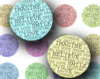 INSTANT DOWNLOAD Beautiful Words Inspirational Digital Images Collage Sheet Love Smile One 1 Inch Circles for Pendants Magnets Crafts (C153)