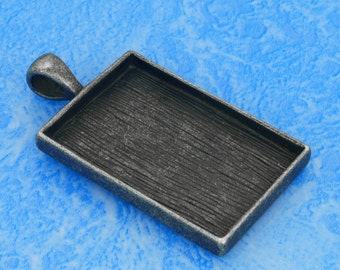 2pcs 25.5X38mm Great rectangle antique Silver Pewter bezel blank Pendant Tray with tree pattern