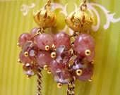 SALE,Pink Stone Rose Czech Glass Earrings, Gold Chain, French Hook, ROSA, Mauve Glass, Pink Clusters, Hanging Berries, SALE, Gold and Pink