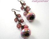 Pink Chinese Lantern Earrings, SALE, Pretty Floral Dangles, Watermelon Tourmaline, Dripping Pink, Fancy Girl, Lolita Jewelry,Copper Elements