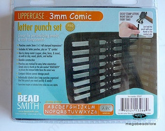 SALE - 3mm UPPERCASE COMIC Alphabet Letter Punch Stamp Set Metal Stamping