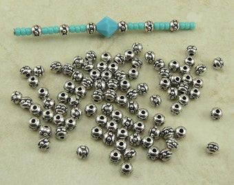 50 TierraCast Tiny 8/0 Seed Bead Spacer Beads > Fine Silver Plated LEAD FREE Pewter 0447