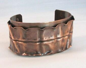 Copper Cuff Fold Formed Ruffled Cuff Edge