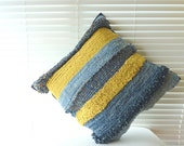 Rag Rug Denim Striped Cushion