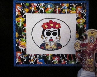 Frida Kahlo Hand Embroidered Quilt Dia De Los Muertos Day of the Dead