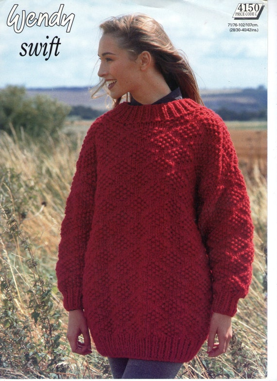 Tunic Sweater Knitting Pattern : Tunic Sweater Knitting Pattern Chunky Original by PamoolahVintage